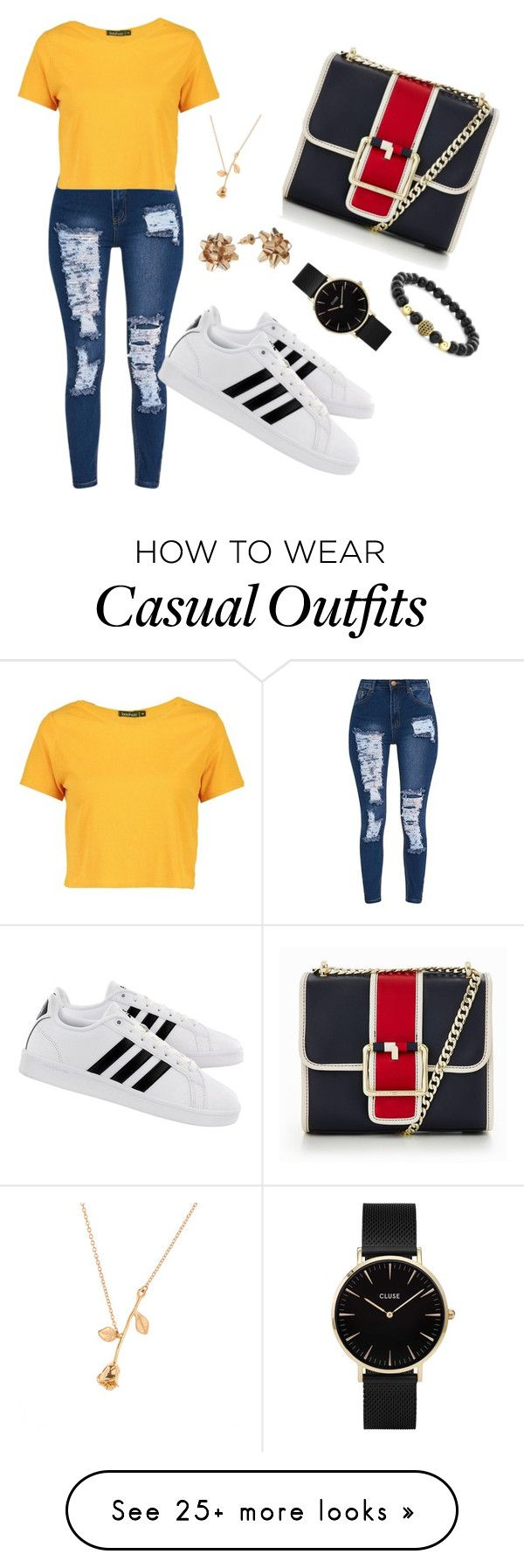 """""""Weekend Casual"""" by iamashabee on Polyvore featuring Boohoo, Tommy Hilfiger, adidas and CLUSE"""