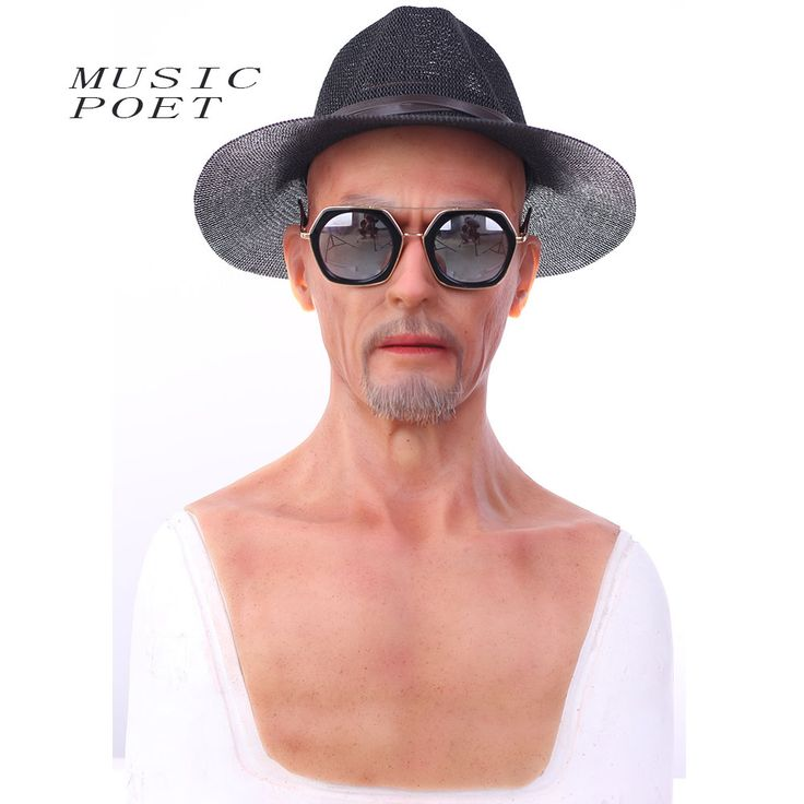 Music Poet Top quality realistic silicone masks, old man mask, mens masquerade mask christmas, full head halloween