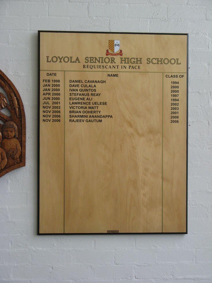 Loyola High School #CSI #wood #honourboard #sign #school #recognition #acrylic #students #signage