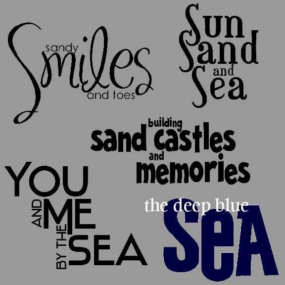 04_Beach_Titles_WordArt_Sample | Scrapbook pages ...  Beach Quotes And Sayings For Scrapbooking