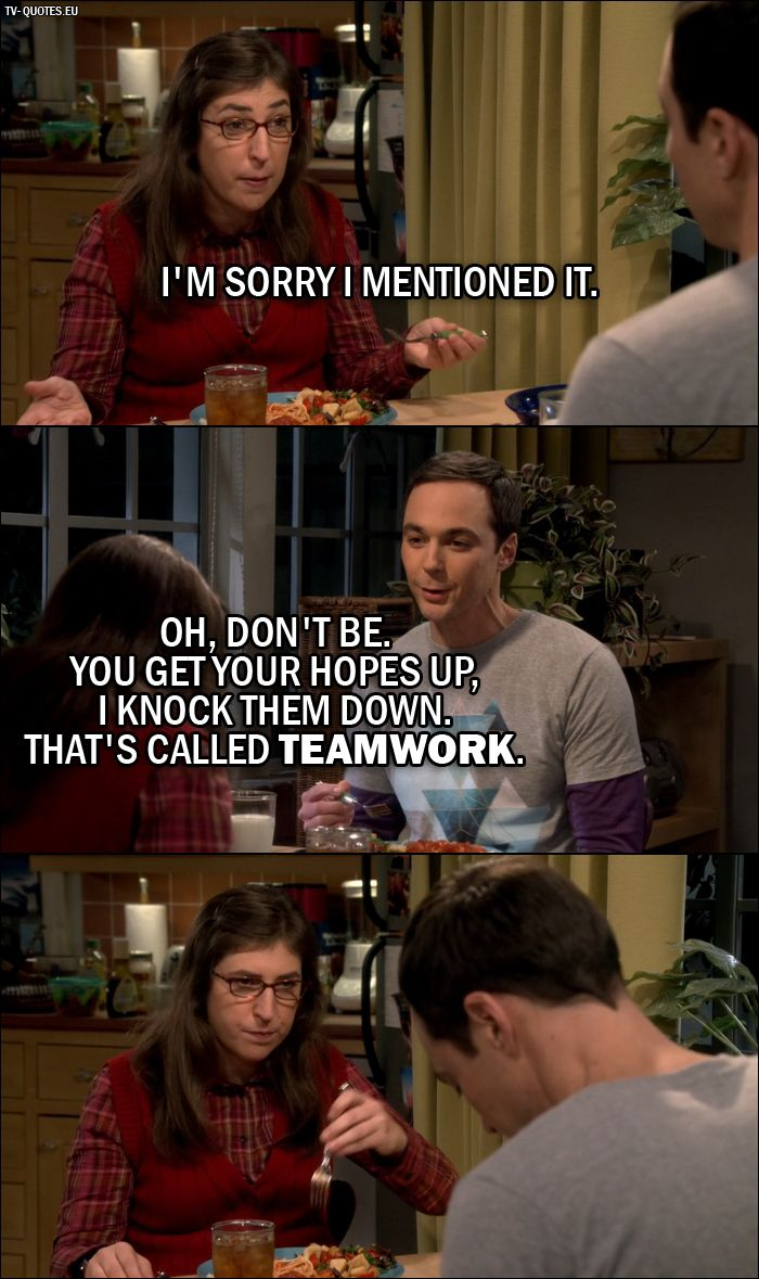 Quote from The Big Bang Theory 10x06 |  Amy Farrah Fowler: I'm sorry I mentioned it. Sheldon Cooper: Oh, don't be. You get your hopes up, I knock them down. That's called teamwork.
