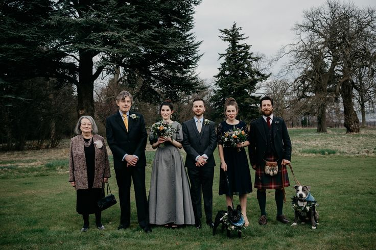 A Two-Piece Grey Denim Dress for a Modern and Dog Friendly Wedding in Scotland. Photography by Caro Weiss