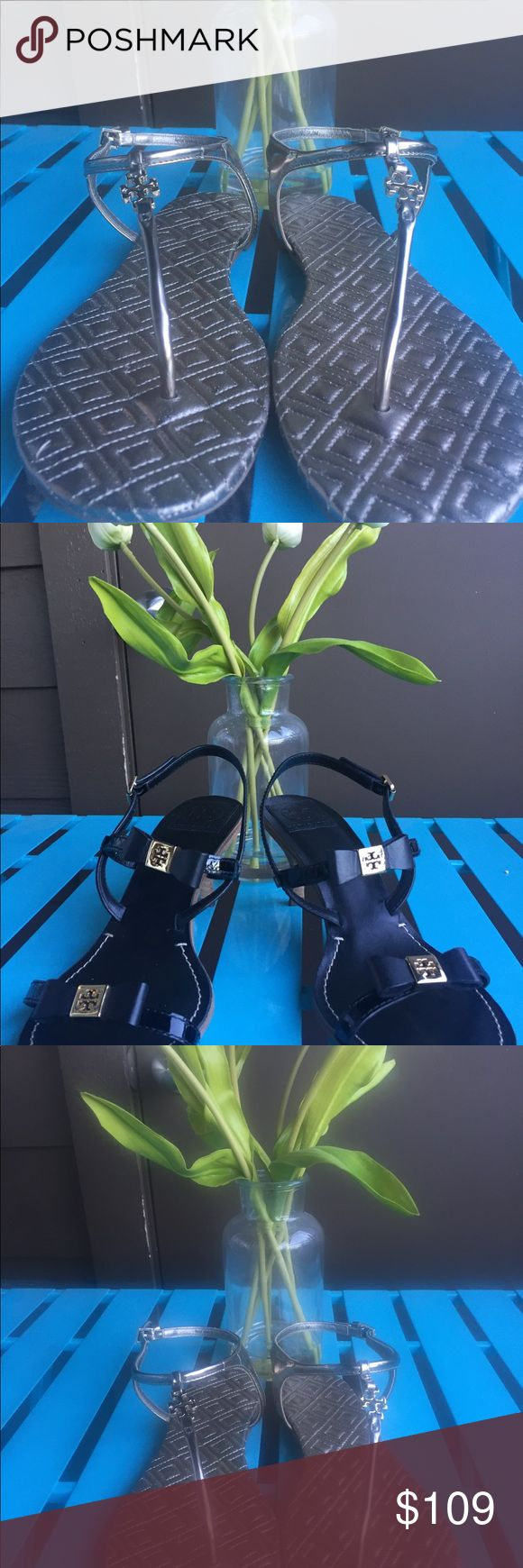NEW TORY BURCH FLAT METALLIC SANDAL GORGEOUS METTALIC PEWTER SANDAL WITH TORY BURCH LOGO HARDWARE. ADJUSTABLE ANKLE STRAP AND RUBBER SOLE FOR ADDED COMFORT. REALLY CUTE!! Tory Burch Shoes Sandals