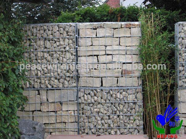 China fornecedor mental , cercas de arame galvanizado gabião cestas, Soldados de arame gabião parede