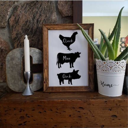 Excited to share the latest addition to my #etsy shop: Reverse Canvas - Portrait Style - Farm Animals - Farm House Style - 9x12 - 11x14 - Stained Frame - Wood - Coffee & Friends - Coffee Love http://etsy.me/2EfF9Wk #art #mixedmedia #white #black #canvas #wood #paint #s