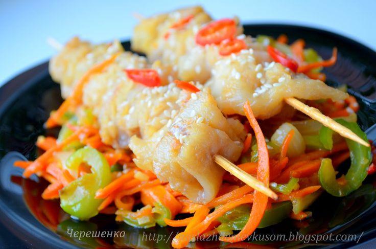 Наслаждение вкусом: Шашлычки из рыбы с овощами