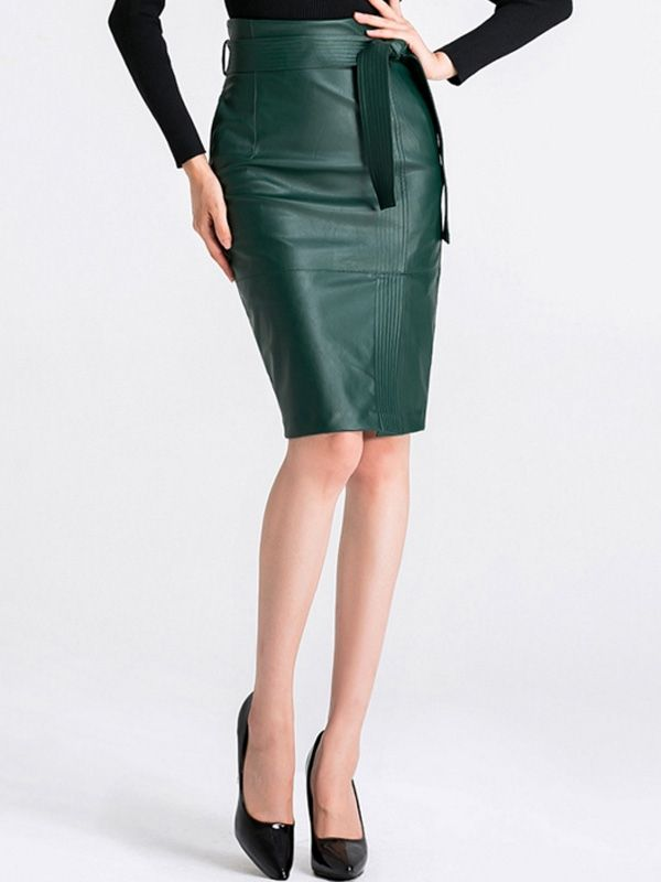 2bd3afd88598de Solid Color Women's Bag Midi Skirts in 2019   JOLLYHERS   Faux leather  pencil skirt, Faux leather skirt, Skirts