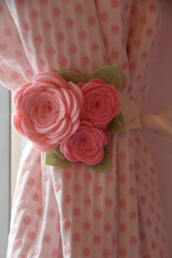 Curtain Tiebacks, Felt Rose, Colors -Pink and Cotton Candy with Pistachio Leaves…