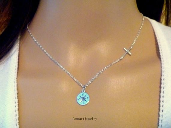 Graduation Gift  Sideways Cross Necklace  by FemmartJewelry