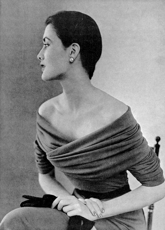 Maxime de la Falaise in grey draped jersey dress by Balenciaga, photographed by Pottier (1950). ty, pinner Lale Tülü. via Alain Truong