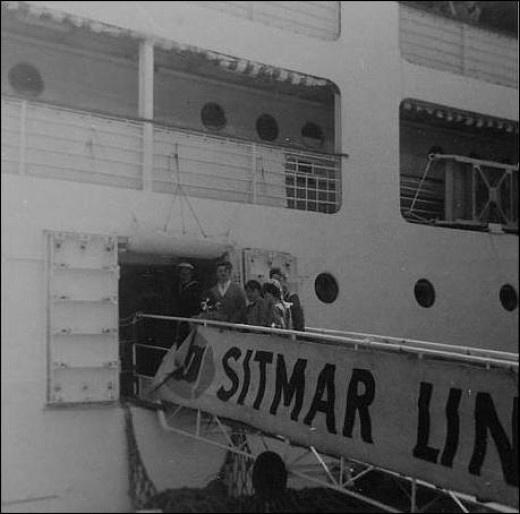 The family boarding the ship Castel Felice for the journey back home. September 1969.
