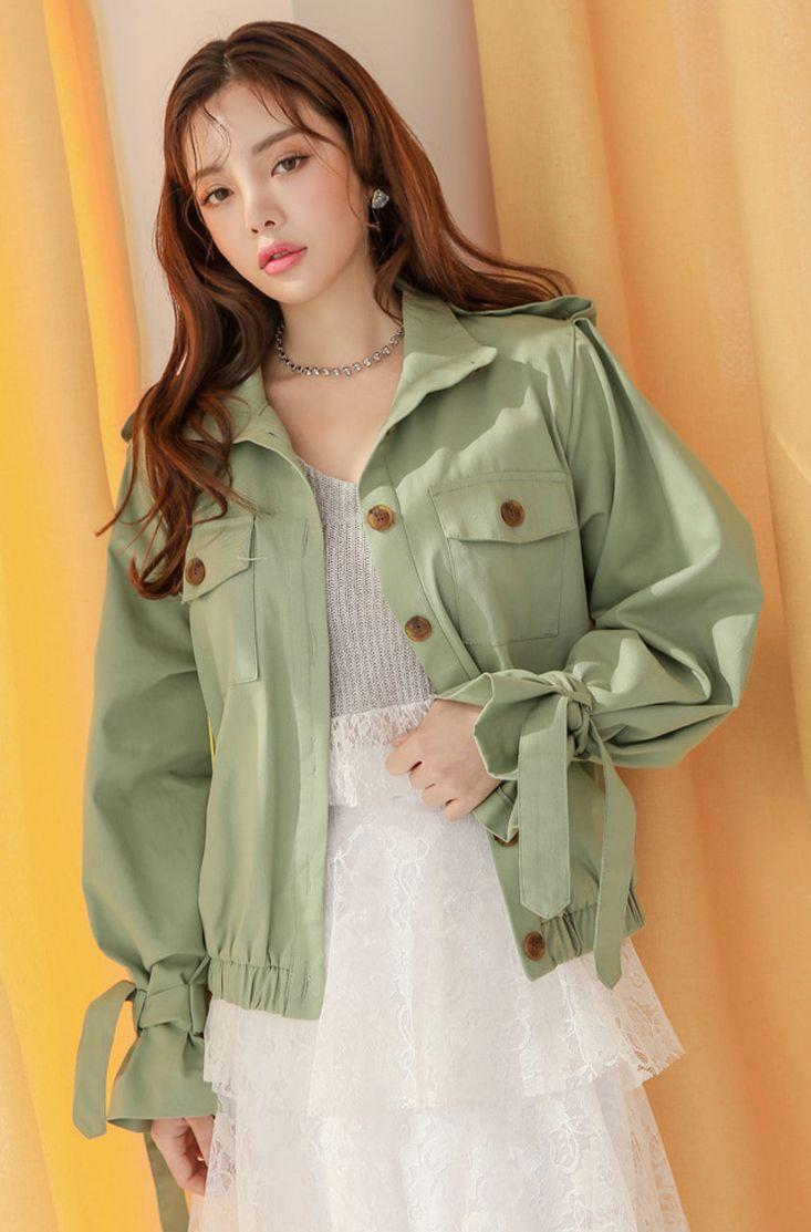 Epaulet Shoulder Elasticated Hem Bomber Jacket CHLO.D.MANON #green #jacket #stylish #youthful #koreanfashion #kstyle #kfashion #springtrend #seoul #dailylook