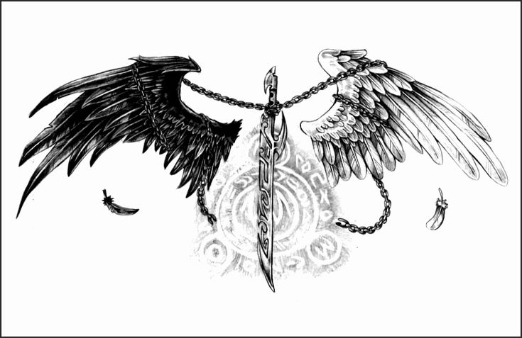 Angel and Demon Wing Tattoos Dn4ph Awesome Demon Angel Wings Tattoo Black White …