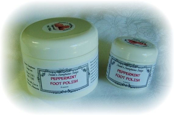 Revive and rejuvenate your tired feet! Exfoliate and moisturize your feet, legs and elbows beyond recognition with this energizing peppermint foot polish. The salt will gently exfoliate, the luscious butters, oils and glycerine will restore moisture, and the aromatic peppermint will purify, cool and soothe. Skin becomes silky, supple and very touchably soft. Contains cocoa butter, shea butter, sweet almond oil, jojoba oil, salt, glycerine, and peppermint essential oil.  This listing is for…