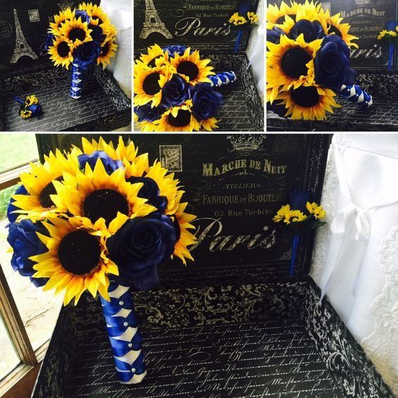 Sunflower Bouquet, Sunflower Royal Blue Rose Wedding Bouquet, Blue Yellow…