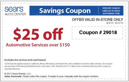 sears wheel alignment coupons 2013