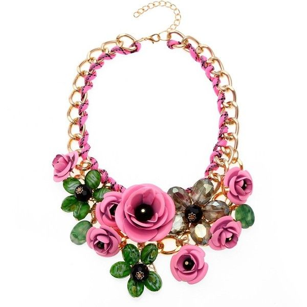 Zhenhui Women Gold Chain Crystal Flowers Charm Pendant Big Chunky Bib... ($11) ❤ liked on Polyvore featuring jewelry, necklaces, crystal necklace, pendants & necklaces, bib necklace, crystal bib necklace and chunky statement necklace