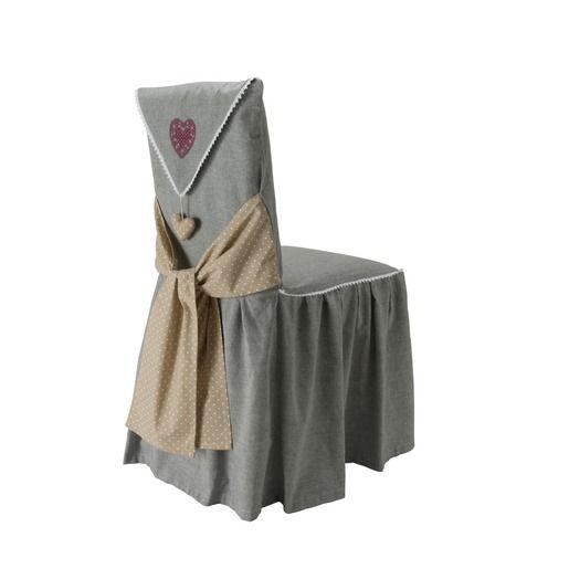 Housse de chaise mod le c ur 45 x 60 cm gris s m - Modele housse de chaise ...