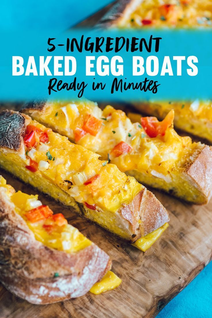 Baked Egg Boats Recipe Easy Breakfast Recipe To Feed A Crowd 5 Ingredients Eggs Bread Peppers Onions And Chees Recipes Best Breakfast Recipes Egg Boats