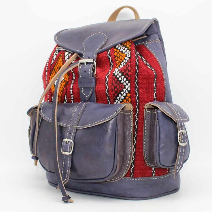 Kilim and Leather handmade womens backpack in blue leather and red kilim