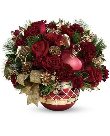Red and gold classic #Christmas floral arrangement.