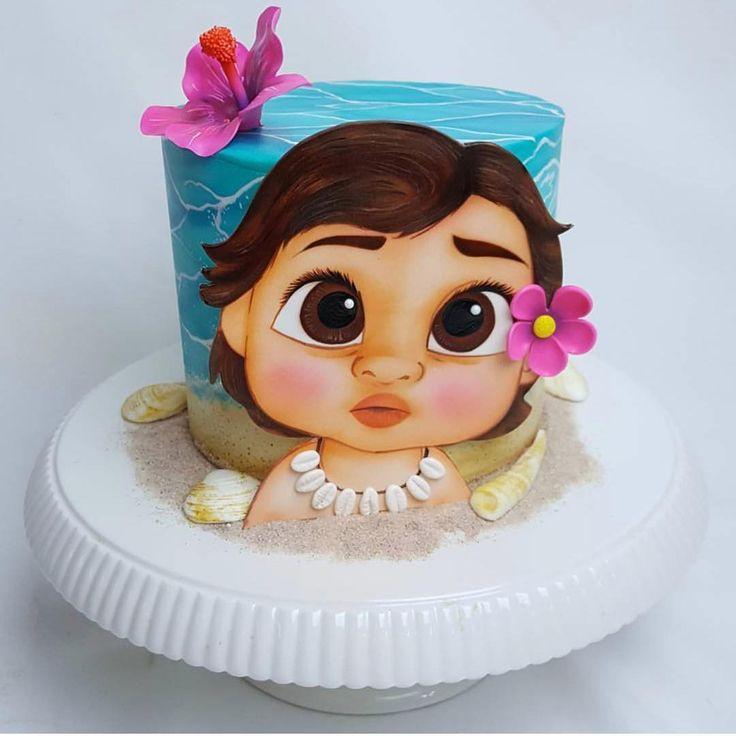 """2,775 Me gusta, 22 comentarios - @cassianedorigon (@ideiasdebolosefestas) en Instagram: """"Mais um bolo da Moana bebê. Uma fofura total. . Por @awesome.edibleart. #ideiasdebolosefestas…"""""""