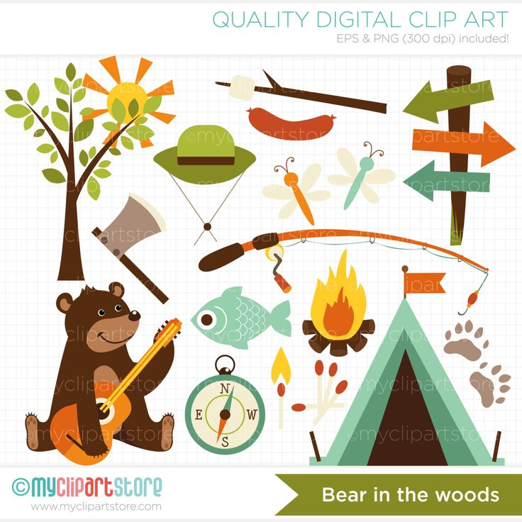 Clipart - Bear in the woods / Camping / Fishing / Father's Day - Digital Clip Art (Instant Download) by MyClipArtStore on Etsy https://www.etsy.com/uk/listing/200445110/clipart-bear-in-the-woods-camping