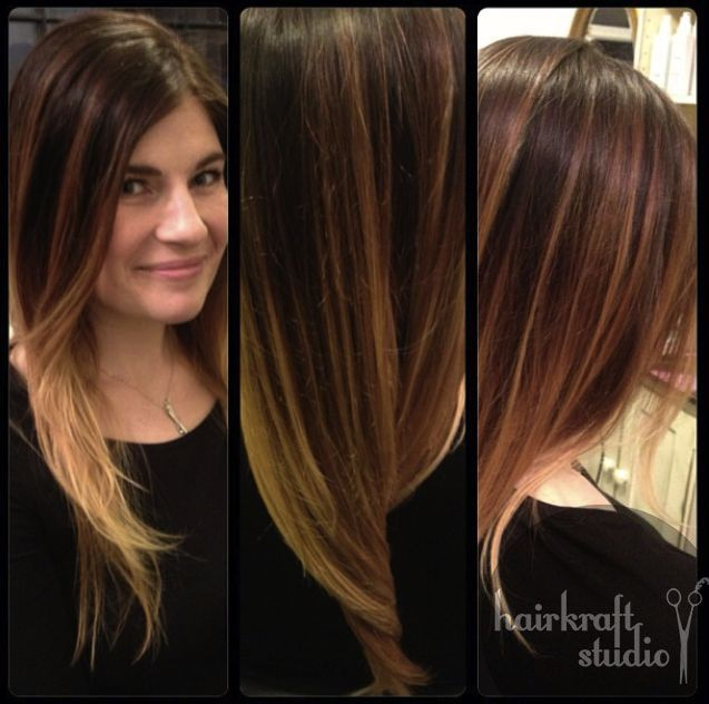 Ombre Balayage Brown To Blonde Dark Roots Rich Brown