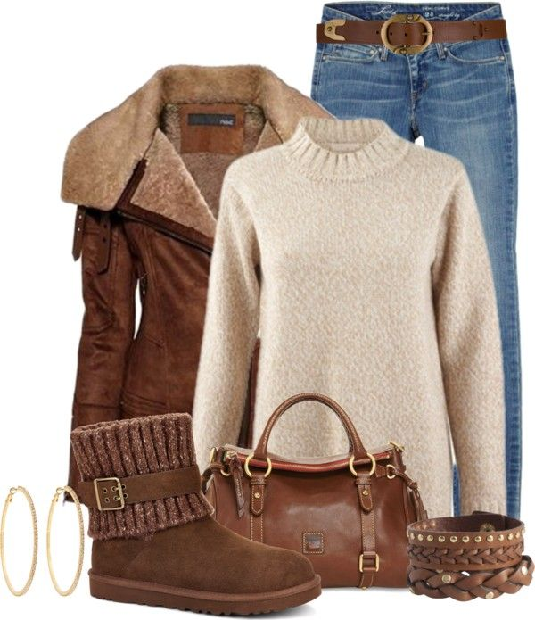 Casual Brown Aviator Jacket Winter Outfit