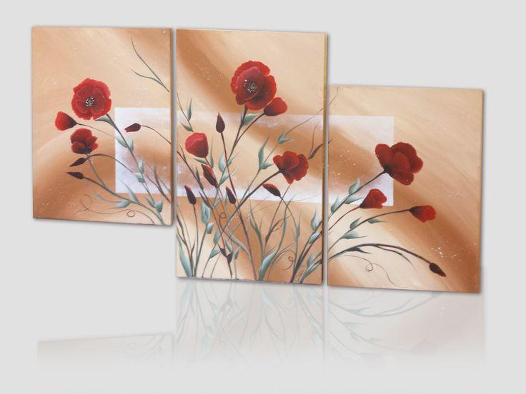 Papaveri - quadro dipinto a mano acrilico su tela, dimensioni totali 90x50 cm (3 pannelli)