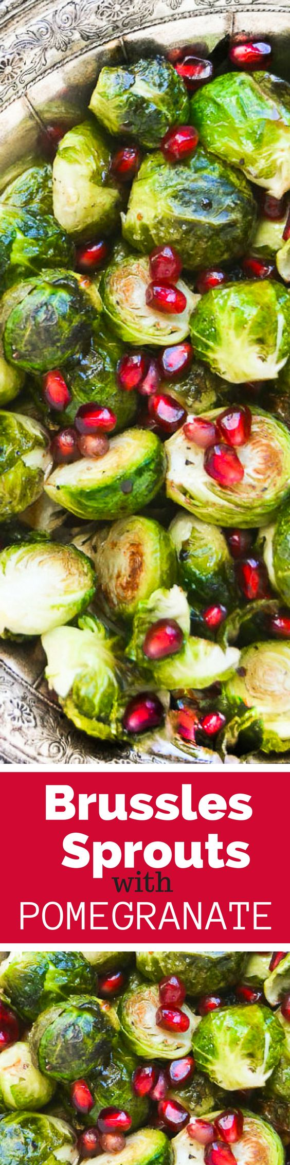 Roasted Brussels Sprouts with Pomegranate is a super easy fall and holiday side dish that dresses up any table and will make Brussels sprout fans out of everyone! ~ THEVIEWFROMGREATISLAND.COM