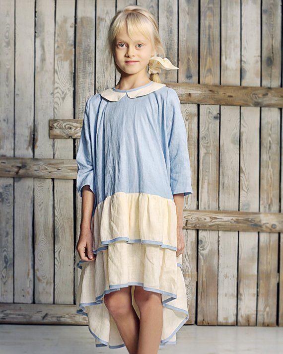 5f65226e6584 Ready to ship Linen girls dress with ruffles Girl party | Etsy  #babycakeblue #lightblue #girlsclothing #linengirldress #girllinendress # linendress ...