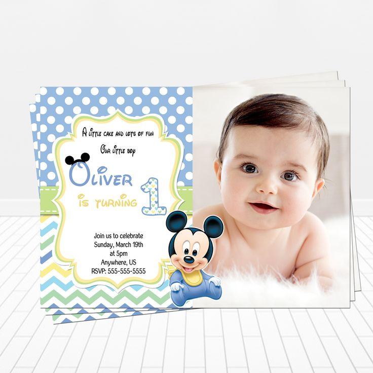 Baby Mickey 1st Birthday Photo Invitation - partyexpressinvitations