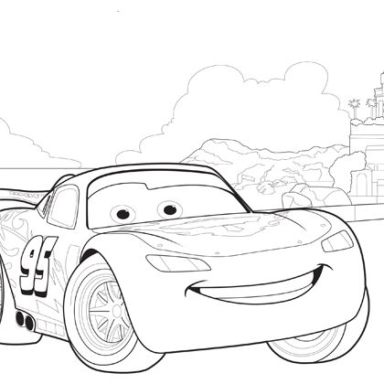 coloriage flash mcqueen sur la route