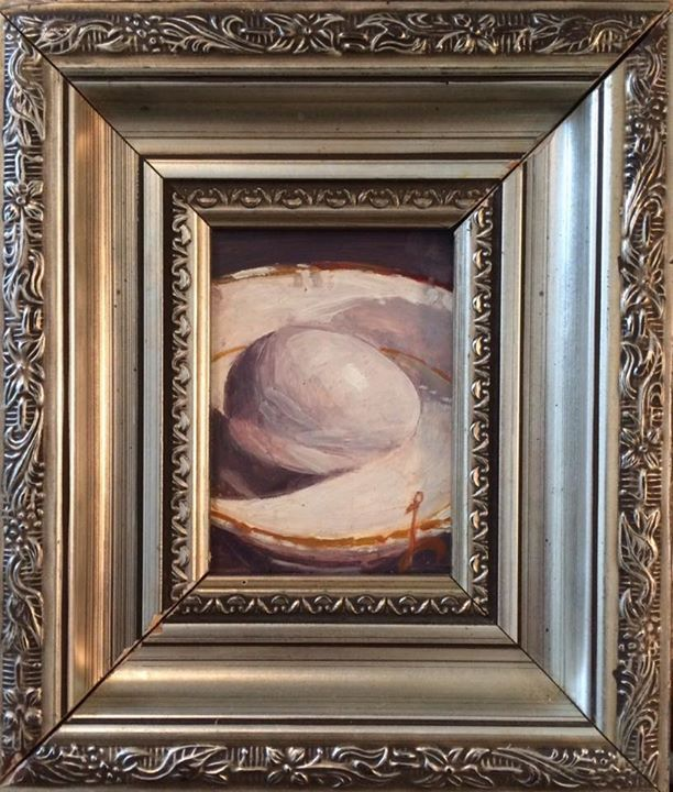 """Egg on White"" oil painting by Chad Loriot"