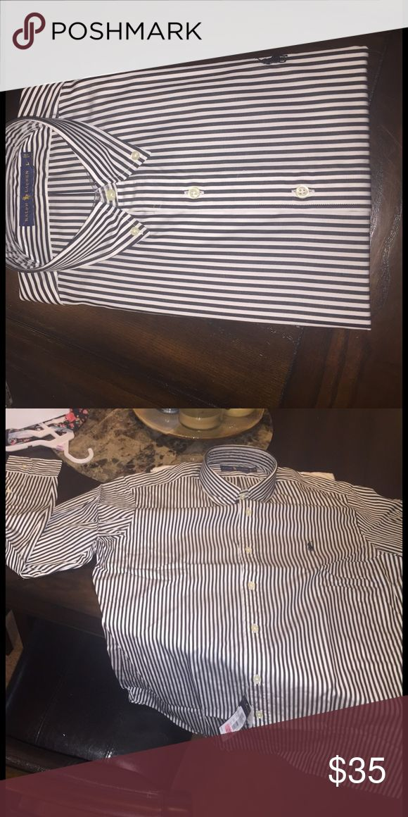 Ralph Laurn Pin-Stripe Polo Shirt. Size L. Brand new. Never worn. Ralph Lauren Shirts Dress Shirts