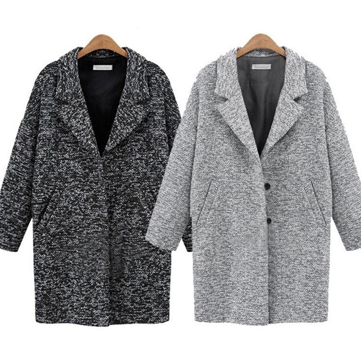 Loose lapel pocket woolen coat 6791042
