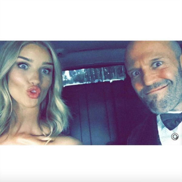 "Rosie Huntington-Whiteley - ""Goofy couple @rosiehw @jasonstatham"" —@perfectrosiehw"