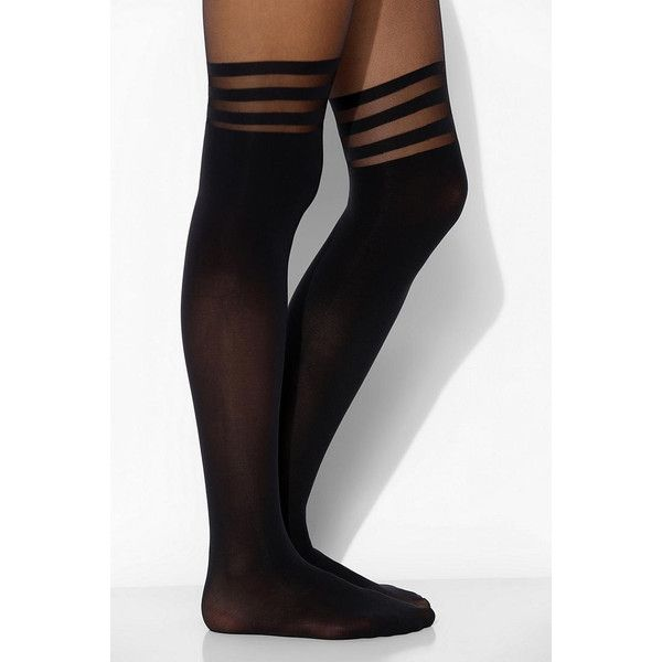Striped Faux Thigh-High Tight ($14) ❤ liked on Polyvore featuring intimates, hosiery, tights, socks, accessories, tights & leggings, black, over the knee stockings, opaque stockings and thigh high hosiery