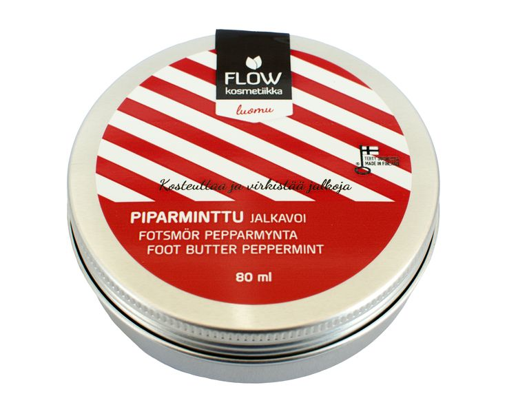 Flow Cosmetics - Foot butter peppermint. Moisturises and nourishes the skin and cracked heels.