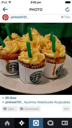 Adorable starbucks cupcake decorating idea
