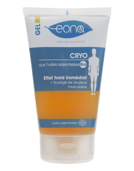 Le gel cryo est un gel à effet froid formulé à base d'huile essentielle de Gaulthérie pour apaiser les douleurs musculaires. Indiqué en cas de tendinite, entorse, foulure, coup et en récupération après l'effort. 14,59€ sur www.eona-lab.com