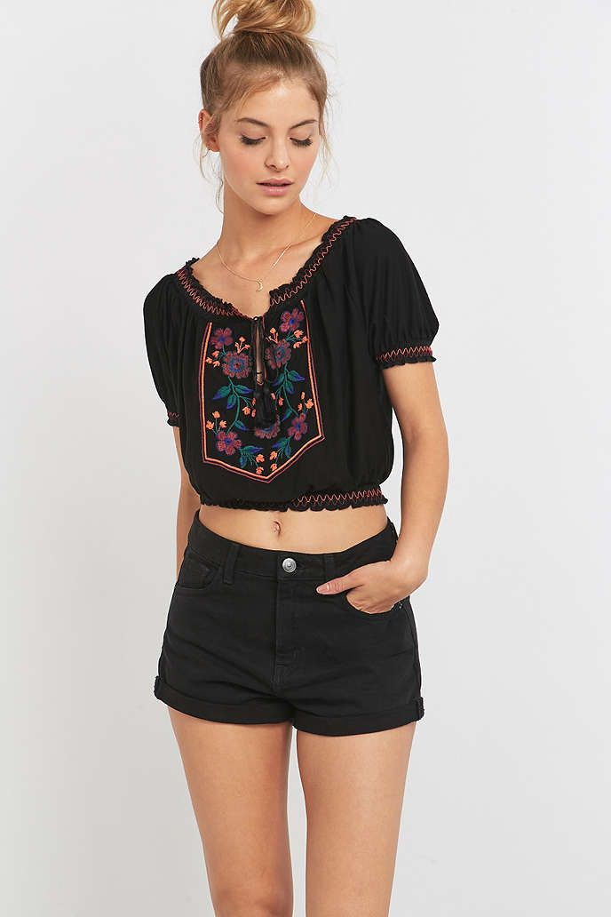 Pins & Needles Placement Embroidered Black Smock Top - Urban Outfitters