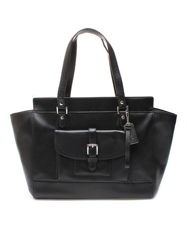 This Black Leather Messenger Bag by Coach is perfect! #zulilyfinds