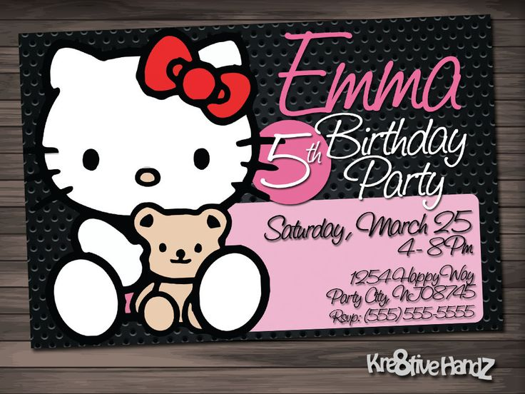Free Hello Kitty Birthday Invitations ~ 24 best darling hello kitty party images on pinterest cat party
