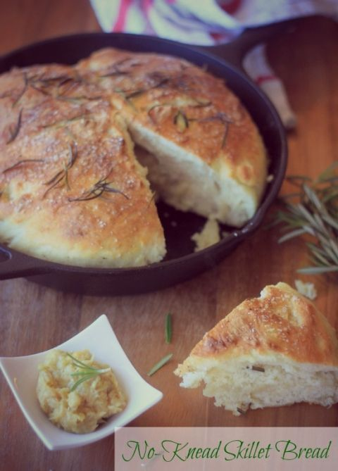 No-Knead Skillet Bread - Wonderful and super easy!  Hot bread in 2 hours.  Don't forget to sprinkle with rosemary and coarse salt before baking!  It's divine!