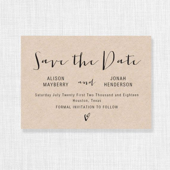 """This Save the Date template is available for instant download as a .docx file. Edit with your own details in MS Word. 4x6"""" and 5x7"""" versions are included. Color editable. Save the Dates are 4x6"""" and 5x7"""" after trimming. ***The background of the design is transparent – print on kraft card for a kraft background, print on white for a white background etc*** Please read the following details carefully before ordering: ============..."""