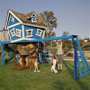 Funky treehouse swing set