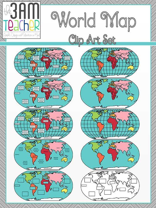 Best 25 flat world map ideas on pinterest tv covers outline of flat world maps clip art set 4 gumiabroncs Gallery