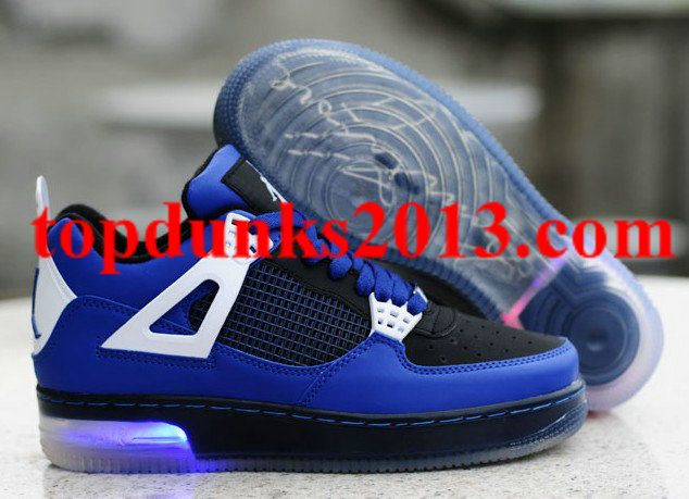 e2ecd35014fc3f Exactly Fit Nike Jordan 4 Cheap sale Glow in the Dark Black Blue ...